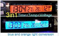 3in1 Car Digital Electric Meter,Thermometer+ voltage gauge+digital clock,blue+orange light conversion