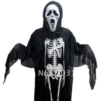 Wholesale 5pcs Halloween masquerade super white halloween mask+dress Cloak terror + free shipping
