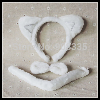 Wholesale new lovely white fox cat plush animal Headband Ears Tail Bow Tie cosplay Costume Fancy Dress party supplies 10pcs 3042