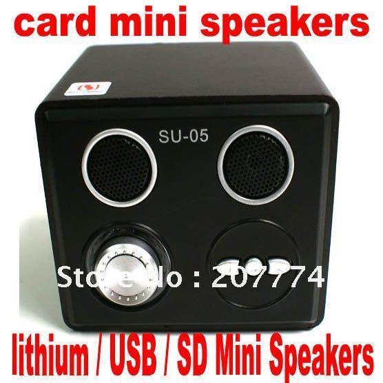 Free shipping 1pcs SU-05 card mini speakers, lithium Speaker / U disk / SD cmobile phone speaker(China (Mainland))