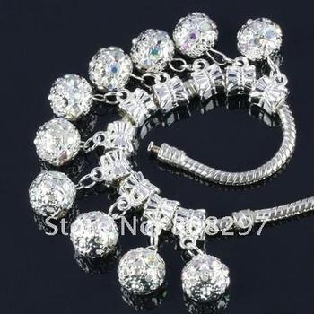 DIY 10mm Charm European Big Hole Dangle Bead Plated Silver Crystal AB Rhinestone Jewelry Finding Pendants 100pcs/lot