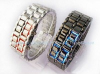Super bright LED fashion Lava style iron Red/Blue light metal LED samurai watch 5 piece/lot freeshipping