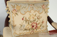 "Hand Woven Wool Aubusson Pillow Cover - Blue Cream 18""x14"" Home Decorative"