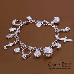 GSSPH144/Valentine&#39;s day gift !silver 13 charm bracelet,high quality 925 silver jewelry, silver fashion bracelet jewelry(China (Mainland))