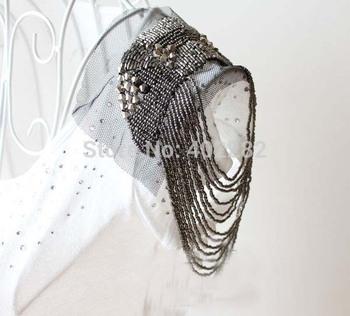 Vintage PUNK cool stud alloy tassel brooch / shoulder loop / epaulet / epaulette