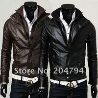 New Slim Sexy Top Designed Mens Pu Leather Jacket Coat Colour:Black,Brown US Size XS,S,M,L (LZ212)