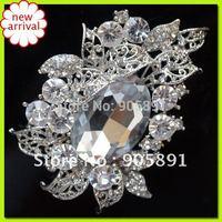 Wedding Silver Plated Rhinestone Flower Brooch wholesale brooch alloy and silver free shipping WBR-674