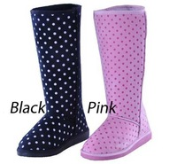 Free shipping women winter warm indoor suede snow boot wool inner rubber Knee high flat dot boots for lady WB46