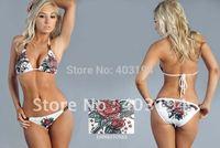 2013 New Wholesale Brand Women Brazilian Sexy Print Micro Bikinis Cheap Flower Swimsuit Beachwear Size S M L White Black CB9