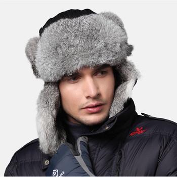New Winter Men Hats Caps Black Wind Water Proof Earflap Trapper Hat 100% Rabbit Fur Russia Bomber Cap 2130