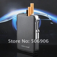 Free shipping auto magic cigarette case with lighter,auto cigarette box holder can hold 10pcs