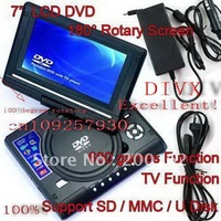 "7.5"" TFT Portable DVD Player LCD Screen Display USB TV MP3 MP4 Game SD MMC MS  DHL.EMS.FedEx"