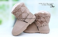[CPA Free Shipping] Fashion Faux Fur Lady's Snow Boots  Winter Boots Khaki/Chestnut-SH-002