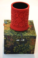 Free shipping Chinese traditional lacquerware, 8.5*11cm handmade Chinese traditional lacquerware pen container, home decoration.