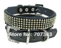 Free shipping  by DHL 20pcs/lot black  crystal pet collar