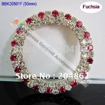 Free Shipping 20pcs/lot 50mm Fashion Rhinestone Buckle with Crystal & Fuchsia in Gold