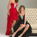 On Discount Red and Black Chiffon Layers Front Short Long Back Prom Dresses 2012
