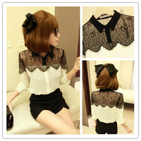 2014 Spring New Casual Black Lace Chiffon Women Blouses & Shirts Long Sleeve Clothing Tops Plus Size S~XXXL 80222
