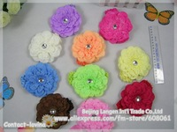 2015 Free Shiping 40%Discount now  10different  color  Gerbera Daisy flower+headband+clip toghter Children Head Accessories