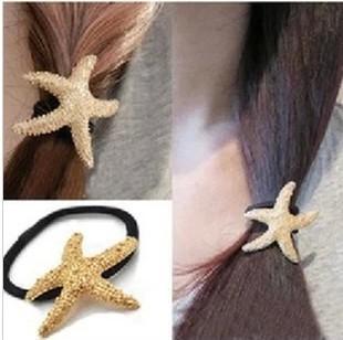 Nave gratis! 30pc! Stelle marine Golden fascia/metallico capelli corda/accessori per capelli