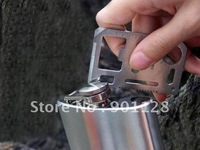 H601 Multifunctional Mini Card Knife 2pcs/lot  Portable Stainless Steel Camping Knife with Black Leather Case Free Shipping