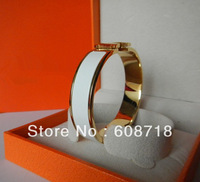 Free shipping Wholesale Clic H ENAMEL BRACELET,Gold Plated Hardaware,France Paris White Enamel Bangle,Wedding Christmas Jewelry