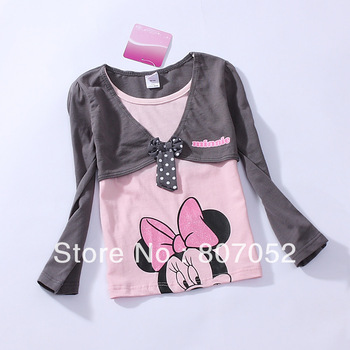 Free Shipping Wholesale Minnie mouse,girl baby Kids' long sleeve t shirt wear/clothing/clothes costume pajama--7pcs/lot CS42