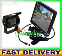 "NEW 7"" LCD Monitor+18 IR Reverse Camera Car Rear View Kit  car camera free 10m cable BUS parking sensor"
