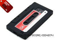 DIRECTOR DHL Free 50pcs/lot Black Cassette Tape Silicone Case for Samsung Galaxy S2 S II  I9100