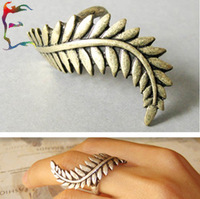 Wholesale 24pcs/Lot ancient Bronze curly tree leaf big finger ring metal alloy PUNK novelty party ring jewelry free shipping