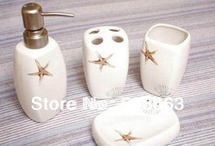 Free Shipping modern special designed Ceramic 4pcs bathroom accessory set b9999(China (Mainland))