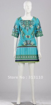 Free Dress Patterns  Women on Freeshipping Pattern Print Cotton Dress With Slim Belt Women  Dress