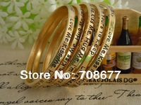 Wholesale Charm Gold Plated engraved Vintage Love Fable Letter bracelets & bangles for girlfriend friendship  gifts 5pcs/set
