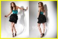 NEW! Real Sample 2012 Flirt Strapless Taffeta Feathers Mini Cocktail Dresses PF5016