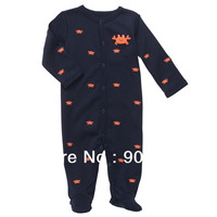 Wholesale original carter's baby romper one piece jumpsuits long sleeve cotton snap-up rompers NB-9M 6pcs/lot Free shipping