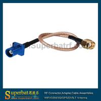 """Universal Fakra cable connect sma Fakra Plug""""C"""" to RP-SMA Plug"""