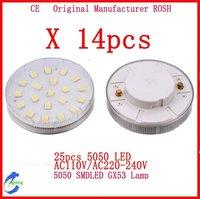 14pcs/Lot 5050 smd LED GX53 Lamp