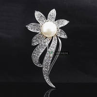 FREE SHIPPING,48pcs/lots,High quatity Hotsale Shining Fashion flower pearl brooches for wedding cheap IN STOCK(CX-1116)