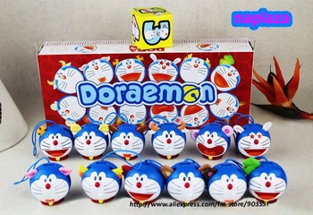 Free Shipping Chinese Zodiac 12 pcs Doraemon  transforming  Figure Toy phone Charm  in Retail box  Wholesale  (12 pcs/set )