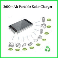 Solar cell phone charger, portable solar charger, mobile phone charger for iphone 4/4s, backup battery  3600mah Free shipping