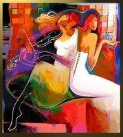 Canvas modern painting Music decoration Pop abstract handmade F-0028