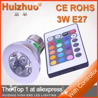 3W E27 110V - 230V Remote Control16 Color Spot RGB LED Bulb lamp