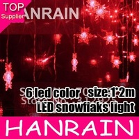 Free shipping 1m*2m LED snowflaks light for chrstmas or home decoration 6 LED color offering