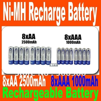Big Discount BTY 8+8 1.2v Piles AA 2500mAh AAA 1000mAh NiMH Ni-MH Rechargeable Recharge Battery Betteries Pack + Dropshipping