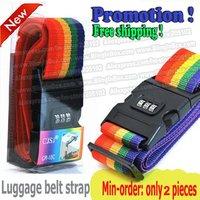 Free Shipping! 2pcs Minorder Rainbow Travel Luggage Suitcase Strap/Luggage suitcase Secure Lock Safe Belt Strap/2m baggage Belt