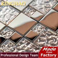 2014 [kinghao] Super Deals Metallic Wallpaper Mix Glass Mosaic Tile Construction Material Mirrors for Living Room Tiling Gmx02