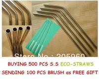 Free Shipping - Wholesale  (600PCS/LOT) 500pcs straws +100PCS STRAW BRUSH  - Metal Drinking Straws