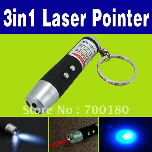 Wholesale Cheap 3 in 1 Laser Pointer with 2 LED Flashlight UV Torch Keychain O-705