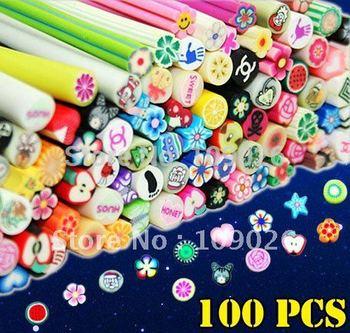 100 unids Canes Nail Fimo arcilla polimérica decoración NA309