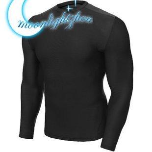 New men's long sleeve All Season man male's tee shirt black T-shirt  black 1 pcs